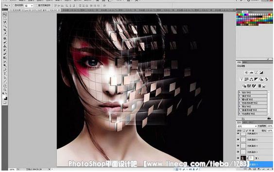 【教程】ps将美女脸部皮肤剥落成碎片化