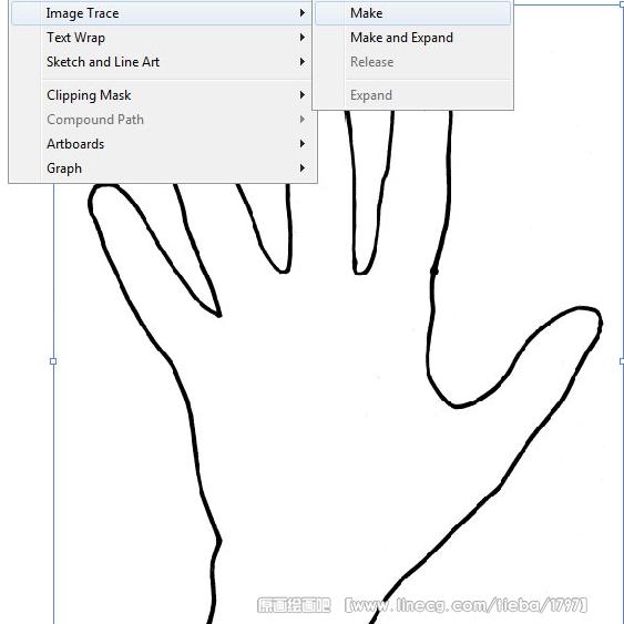 第2步将新转换为矢量对象的手型轮廓线扩展.