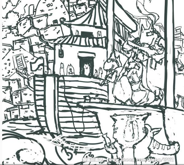 """水彩画入门线稿-面每个物体的""""基本颜色""""先铺出来-painter绘制水彩效果插画教程"""