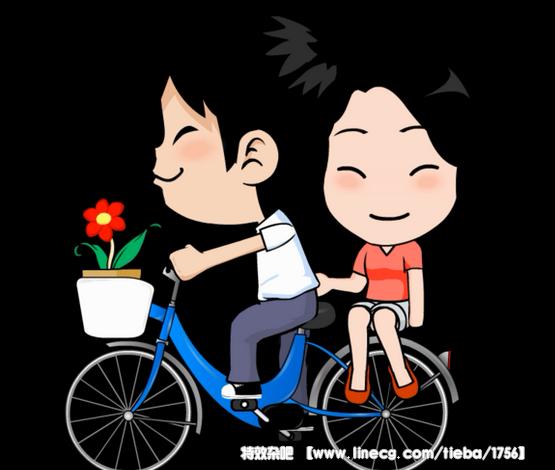 4款骑着自行车的卡通动画人物素材图片